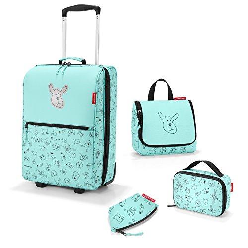 Zeer mooie Reisenthel reisset voor kinderen 4-delig. : cosmeticatas (toilettas S), reiskoffer/trolley, isotas (thermocase) en kleine portemonnee in de trendy designs kat en hond mint.