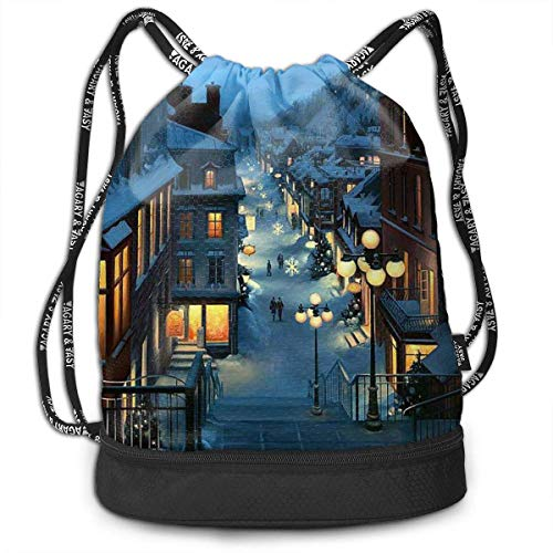 Petrichor Yi Gym Sack Christmas Holiday Street Print Drawstring Bags - Sac à Dos à Poche Simple Bundle