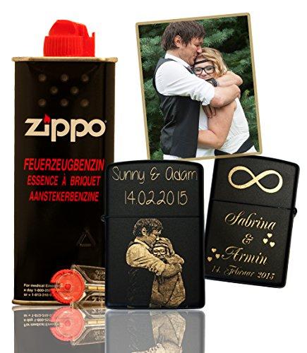 Gravina® - Original Zippo Black Matt mit Fotogravur | inkl. Geschenks-Set