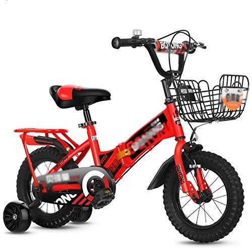 GAIQIN Durable 2021 Actualizar Bicicleta para niños, Bicicleta de Entrenamiento Plegable, 12', 16', 18', 3 Colores con estabilizadores, Botella de Agua y Soporte (Color : D, Size : 18inch)