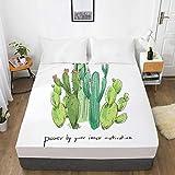 Sábana Personalizada de impresión Digital 3D HD con sábana Ajustable elástica Doble/Completa/Reina/Rey, Funda de colchón de Cactus de Flores nórdicas 160x200