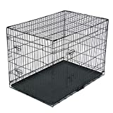 Foldable Pet Crate,Double Door Cat Dog Wire Cage,Metal Kennel Cages with Divider Panel and Tray (42 inch)
