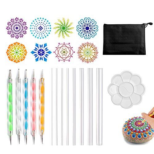Dot Painting Werkzeug, Mandala Werkzeug Dotting Tools für Acryl Kits Pinsel Farbwanne zum Malen von Steinen Färben Zeichnen und Zeichnen von Kunstgegenständen. (Color 1)