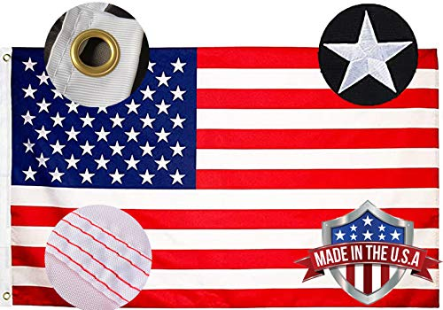 Embroidered Stars American US Flag 3x5 Outdoor- Heavy Duty 240D Nylon USA Flags Banner- Bright Colors Embroidery Unite States Flags with 2 Brass Grommets
