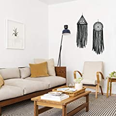 DUGYIRS 2 Pieces Black Dream Catcher Handmade Crochet Evil Eye Design with Lace Triangle Round Dream Catchers Gothic Wall Art Decorations Hanging for Home Ornament Christmas Festival Gift #4