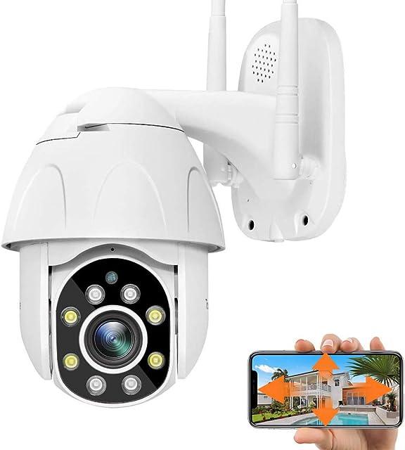 Cámara PTZ Vigilancia Exterior WiFi Cámara IP Exterior IP66 Impermeable Seguridad Inalámbrica Cámara HD 1080P IR Vision Nocturna Detección de Movimiento Audio Bidireccional