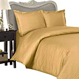 Luxurious Gold Damask Stripe, King Size, 1200 Thread Count Ultra Soft Single-Ply 100% Egyptian Cotton, Extra Deep Pocket Four (4) Piece Bed Sheet Set with 2 Pillow Cases1200TC