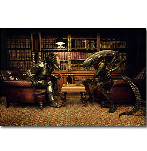 REDWPQ Wall Art Picture Poster Alien Vs Predator Playing Chess Art Canvas Poster Print Movie Funny Picture For Living Room Decoración de Pared 40 * 60 cm sin Marco