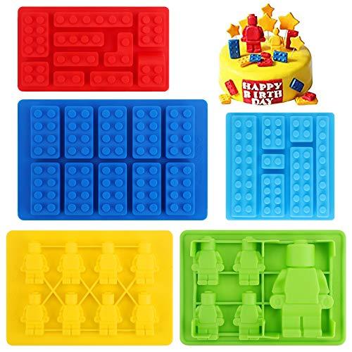 Hileyu 5 moldes de Silicona para Bloques de Chocolate moldes de Silicona para Robots Ladrillos de construcción moldes de Silicona, antiadherentes de Silicona para Cubitos de Hielo (Color Aleatorio)