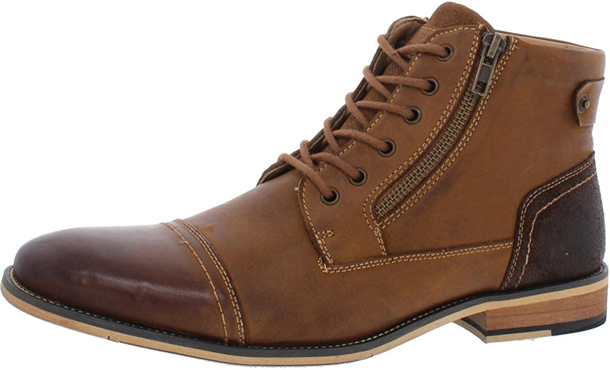 Steve Madden Mens Jestir Leather Cap Toe Oxford Boots