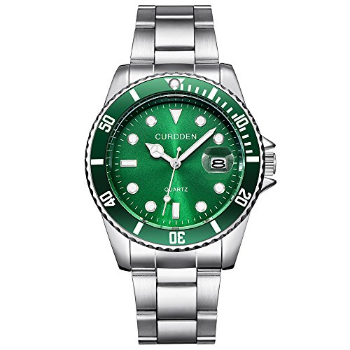 Herren Edelstahl Uhren,Kimdera Männer Chronographen Elegant Design Wasserdicht Datum Kalender Goldene Uhr Unisex Business Mode Kleid Analog Quarz analog Armbanduhr (grün)