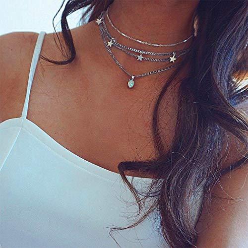 Yienate - Collana multistrato con ciondolo a forma di stella in stile bohémien, stile bohémien, per donna e ragazza