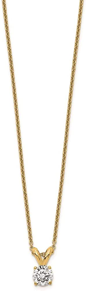 Necklace Chain 14K Yellow Gold Cable With Pendant Moissanite Round White 18 In 0.8 Mm