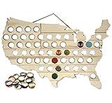 Mark Feldstein & Associates MBBCH Beer Bottle Cap Map USA Bottle Cap Map,Natural Wood,23.5 x 0.4 x 15'