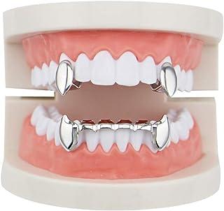 YHDD ユニセックス豪華ゴールドメッキヒップホップブリップ歯セット2個シングルトップ吸血鬼牙&ボトムグリル歯キャップ - 大人用コスチュームのための高光沢党アクセサリー (色 : シルバー しるば゜)
