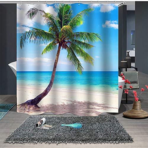 Chickwin Cortina de Ducha Impermeable,3D Cocotero Playa Paisaje Patrón Anti-Molde Cortinas Baño Ducha Cortinascon 12 Ganchos para el Baño (150x180cm,Playa)