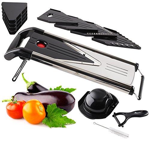V Blade Mandoline Slicer Stainless Steel Food Slicer   Dicing, Julienne Cutting Vegetable and Fruit slicer  Foldable Feet For Sturdy Use   Bonus Peeler & Cleaning Brush