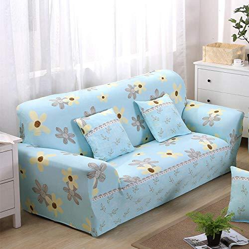 Funda de Sofá Elástica 1/2/3/4 Plazas Cubre Sofas Universal 3 Plazas: 190-230 cm Poliéster Spandex Protector Cubierta de Muebles Flores Azules,Pequeñas Y Amarillas
