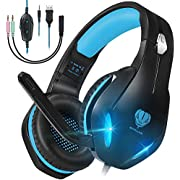 GM-2 Gaming Headset with microphone for PS4,PS5,PC,Xbox One,Nintendo Switch, Noise Cancelling Over Ear Headphones with Mic, LED Light, Bass Surround, Soft Memory Earmuffs for Laptops Phones Mac (Blue)