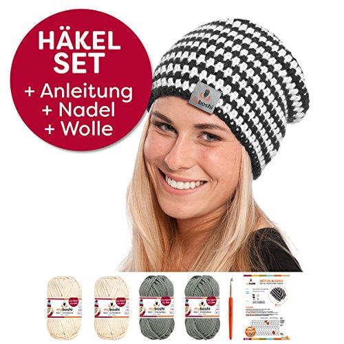 myboshi Häkel-Set Mütze | aus No.1 | Anleitung + Wolle | mit passender Häkelnadel Niseko titangrau Elfenbein