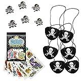 COM-FOUR Set Pirata de 13 Piezas, Regalos y Parches para los cumpleaños de los niños, Accesorios para Fiestas Piratas (Regalos de Fiesta - 13 Piezas - f. 6 niños)