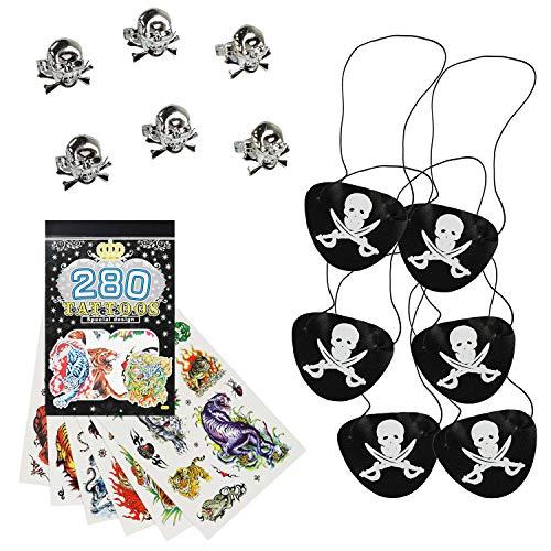 COM-FOUR® Set Pirata de 13 Piezas, Regalos y Parches para los cumpleaños de los niños, Accesorios para Fiestas Piratas (Regalos de Fiesta - 13 Piezas - f. 6 niños)