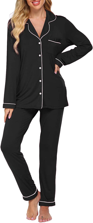 Womens Pajamas Set Long Sleeve Button Down Sleepwear Soft Pj Lounge Sets