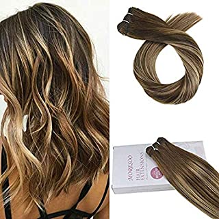 Moresoo 18 Inch Sew in Hair Weft Extensions Remy Human Hair Colorful #4 Fading to #27 and #4 Hair Weave Human Hair Bundles Straight Double Weft Human Hair Extensions 100g/bundle