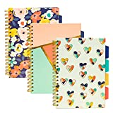 Pukka Pad, Carpe Diem 5-Subject, Spiral, Tabbed-Divider Notebook, 3-Pack 10 x 7 In. 100 Sheets, Multi-Color