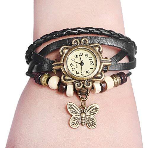 Orologi per donna, cinturino intrecciato cinturino in PU cinturino in quarzo analogico orologio da polso con pendente a farfalla(Black Strap)