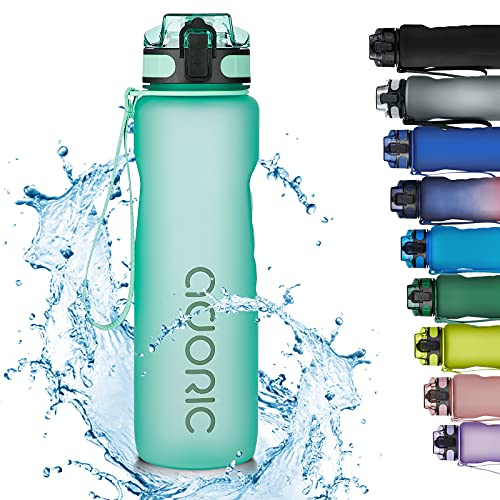 Adoric Trinkflasche 1000ml Auslaufsichere BPA-frei Outdoor Sportflasche aus Tritan Wasserflasche Kinder für Sport Fitness Fahrrad Minzgrün