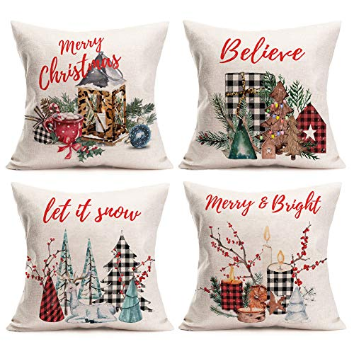 Aremetop Christmas Pillow Covers 18x18 Inches Set of 4 Christmas Throw Pillow Case Buffalo Plaids Leopard Print Christmas Pine Trees Mistletoe Cushion Cover with Red Blessings Quote Xmas Decorations