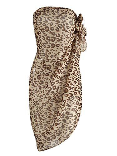 CHIC DIARY Chiffon Strandschal Wickelrock Sommer Damen Sexy Bikini Cover Up Sarong Pareo Strandtuch Leopard Muster Wickeltuch Einheitsgröße Modell 4 one size Einheitsgröße one size