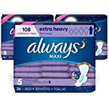 Always Maxi Feminine Pads with Wings for Women, Size 5, Extra Heavy Overnight, Unscented, 36 Count - Pack of 3 (108 Count Total)