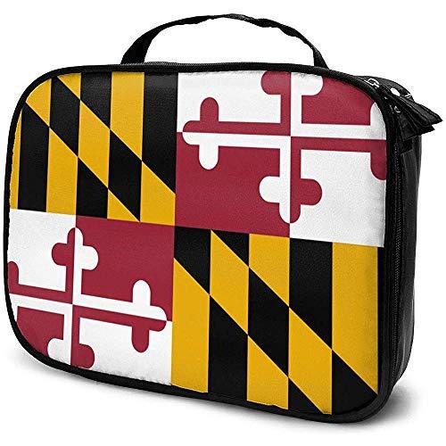 Maryland Flag Makeup Bag Sac à cosmétiques Portable Grande capacité Organisateur cosmétique Durable