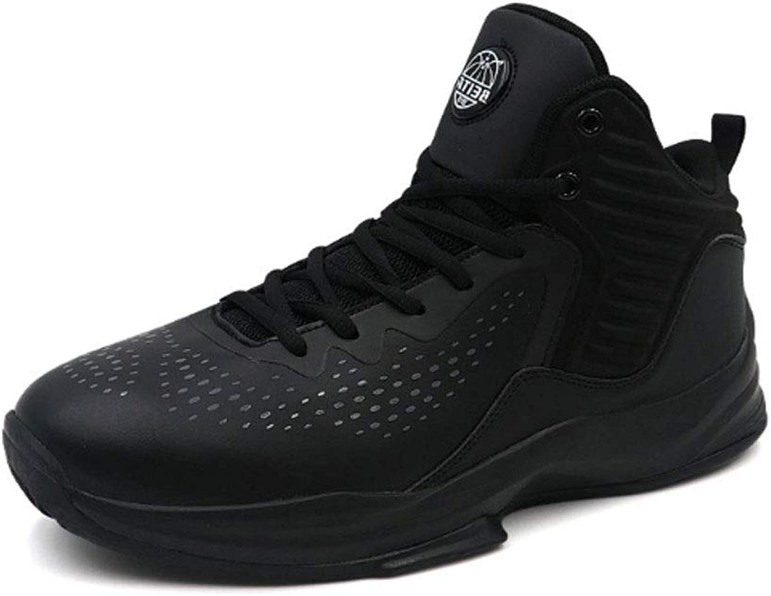 YSZDM Basketball shoes, Wear-Resistant Non-Slip High-Top Sneakers Cushioning Breathable Men'S Outdoor Boots,Black,45