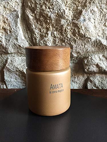 Candela profumata in cera di soia in contenitore ceramico dalla fragranza unica.'La storia magica'. Prodotto artigianale made in Italy completamente realizzato a mano.