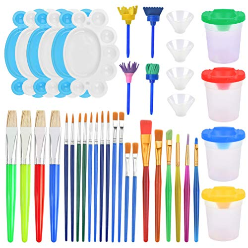 OFNMY 34 Pieces Painting Tool Kits, Paint Supplies Include Paint Cups with Lids Palette Tray Muti Sizes Paint Pen Brushes Art Paintbrushes Set for Kids Gifts Watercolor Acrylic Art Class