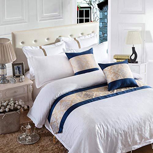 OSVINO Moderno patrón floral de lujo con diseño de celosía para cama, bufanda con borla para dormitorio, hotel, boda, flor, 210 x 50 cm, para cama de 150 cm