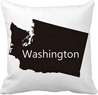 DIYthinker Washington The United States Map Throw Pillow Square Cover 16 inch x 16 inch