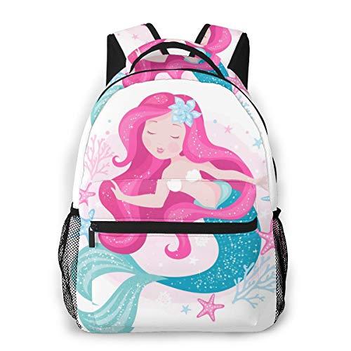Meerjungfrau und Seestern Schulrucksäcke für Mädchen Studenten Rucksack große Büchertasche Grundschulranzen Reisen Tagesrucksack für Kinder