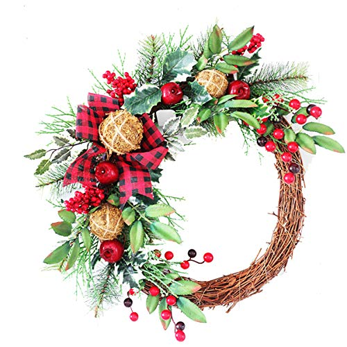 Bospyaf Christmas Tree Pendant Idyllic Pine Cone Wreath Door Hanging Restaurant Hotel Living Room Wreath Decoration