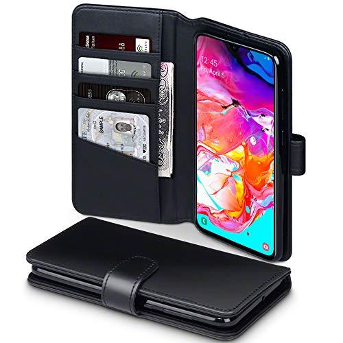 TERRAPIN, Kompatibel mit Samsung Galaxy A70 Hülle, [ECHT Leder] Brieftasche Case Tasche mit Standfunktion Kartenfächer und Bargeld - Schwarz