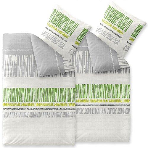 CelinaTex Enjoy Bettwäsche 135 x 200 cm 4teilig Baumwolle Bettbezug Seersucker Alma Streifen Weiß Grau Grün