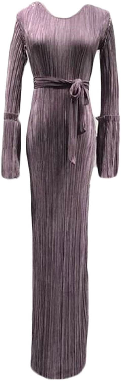 Lutratocro Women's Pleated Pure Colour Muslim Stylish Abaya Kaftan Maxi Dress