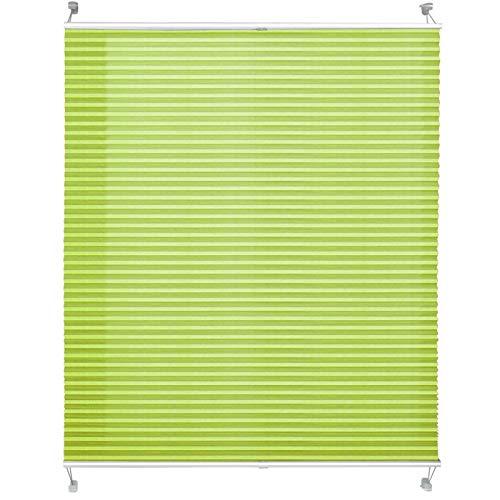 casa pura® Plissee Rollo | mit eleganter Crushed Optik | Klemmfix ohne Bohren | lichtdurchlässig & Blickdicht | hellgrün | 8 Größen (65x200cm)