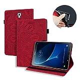 Lspcase Hülle für Galaxy Tab A 10.5 Zoll 2018 Mandala Blume Muster Leder Tasche Schutzhülle Flip Brieftasche Etui mit Kartenfach und Stifthalter für Samsung Galaxy Tab A 10.5 SM-T590 SM-T595 Rot