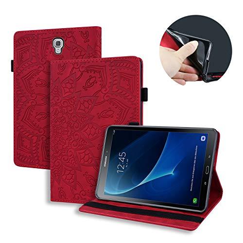 Lspcase Hülle für Galaxy Tab A 10.5 Zoll 2018 Mandala Blume Muster Leder Tasche Schutzhülle Flip Brieftasche Etui mit Kartenfach & Stifthalter für Samsung Galaxy Tab A 10.5 SM-T590 SM-T595 Rot