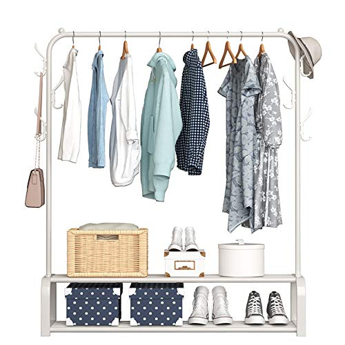 YAYI Garment Rack Drying Rack Freestanding Hanger Bedroom Clothing Rack with 2-Tier Lower Storage Shelf and Side Hooks,White