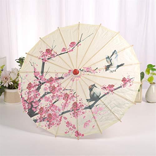 Fullnoon Sombrilla decorativa, diseño de flores de ciruelo y pájaros, estilo clásico, paraguas decorativo de papel de aceite con mango de madera, para bodas, fotografía, suministros de fiesta